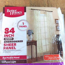 "Better Homes & Gardens Sheer Panel 84"" Gold Tone Embroidered Single Curtain"