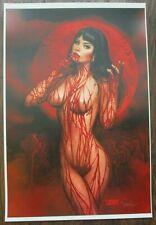 NATHAN SZERDY SIGNED 12X18 ART PRINT VAMPIRELLA GRAVE YARD RED MOON PIN UP NEW