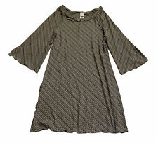 Angelrox Ballet Tunic in Grey and Black Stripes Earth Flared Sleeves One Size