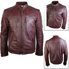 Mens Leather Jacket Classic Biker Style 100% REAL lamb leather
