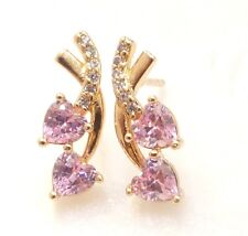 fashion1uk 18K Yellow Gold Plated Pink Charm Love CZ Cubic Stud Earrings