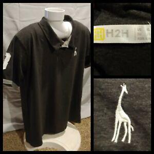 Mens H2H Giraffe Charcoal Gray Short Sleeve Polo Shirt Modern Fit Size XL VGUC!