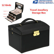 Travel Jewelry Box Organizer Makeup Jewellery Case Earring Rings Storage Black