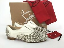 Christian Louboutin Freddy Spiked White Leather Loafer Flat Shoes 36/6