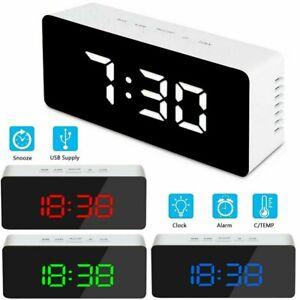 LED Uhr Digital Alarmwecker Schlummer funktion Tischuhr Kalender Spiegelwecker