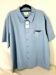 Solitude Men's Short Sleeve Button Down Casual Shirt Size XL Rayon/Polyester NWT
