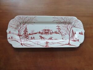 """JULISKA COUNTRY ESTATE """"WINTER MAIN HOUSE"""" SCALLOPED SERVING TRAY RUBY RED"""