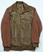 Syllables System Men's Hipster Pattern Jacket Brown Woven Zip Up Size L Large
