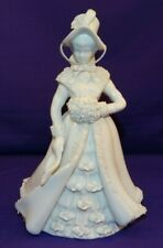 Lefton Fine Bone China Girl Figurine Kw10566W All White W/Roses Bonnet Muff Coat