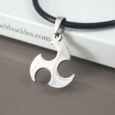 Silver Ninja Weapon Shuriken Stainless Steel  Pendant Black Leather Necklace