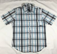Mens' Billabong White, Blue and Gray Plaid Short Sleeve Button Front Shirt-Sz S