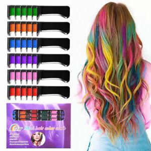6 or 1 Temporary Hair Chalk Hair Colour Comb Dye Salon  Party Fans Cosplay