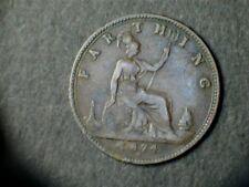Victoria 1874 Bronze Farthing, laureate bust,Heaton Mint Mark. Grade fine