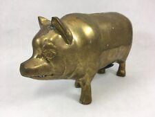 """Vintage Brass Piggy Bank Pig Figurine 7"""" Pig Home Decor"""
