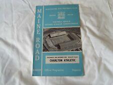 MANCHESTER CITY V CHARLTON ATHLETIC 1965 OFFICIAL PROGRAMME