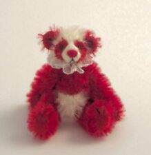 """DEB CANHAM'S """"KISSES"""" TINY RED/WHITE MOHAIR PANDA--FULLY JOINTED  3"""" SPECIAL"""