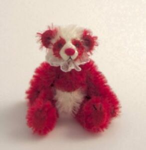 "DEB CANHAM'S ""KISSES"" TINY RED/WHITE MOHAIR PANDA--FULLY JOINTED  3"" SPECIAL"