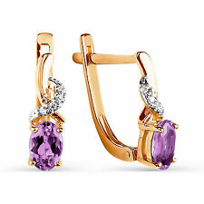 585 Russian Gold Earrings With Natural Amethyst 14ct Rose Gold Gift Boxed