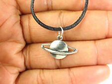 """Saturn Choker Necklace with Antique Silver Charm on Retro Black Cord 13"""" to 24"""""""