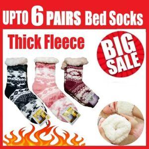 3 Winter Bed Socks Thick Fur Fluffy fleece Home lounge Non-slip Women Men Kids