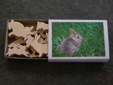 Mini Match Box Easter Bunny Rabbit Set Adorable Hand Cut Wooden Miniature Toy
