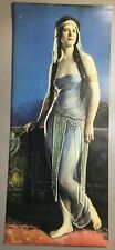 VINTAGE PRINT 0F 1920 SENSUAL LADY BLACK HAIR BLUE EYES BLUE NEGLIGEE Art Deco
