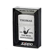 Sturmfeuerzeug Zippo gebürstet mit Geschenkbox inkl. Gravur Real Gentleman