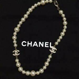 Auth CHANEL Rhinestone CC Charm Pearl Necklace Used from Japan F/S