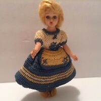 Antique Hard Plastic Collectible Dolls -Handmade Crochet  Custom Clothing, 7 ""