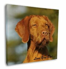"Wirehaired Vizsla 'Love You Dad' 12""x12"" Wall Art Canvas Decor, Pict, DAD-57-C12"