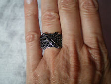 Black Spinel ring, 1.82 carats, size N/O, in 4.93 grams of 925 Sterling Silver
