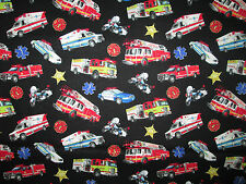 POLICE FIRE TRUCKS AMBULANCE EMERGENCY VEHICLES COTTON FABRIC FQ