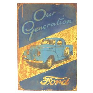 "Vintage FORD Car Truck Vehicle Thick Metal ADVERTISEMENT Sign 24"" x 15.75"""