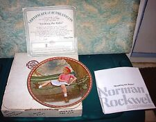 "1987 Norman Rockwell Knowles Collector Plate""Breaking The Rules""Coa W/Box"