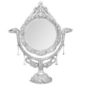 Antique Style Tabletop Victorian Swivel Frame Makeup Mirror Brass Base Gift