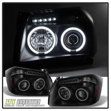 Black Smoked 2005-2007 Dodge Magnum LED CCFL Halo Projector Headlights Headlamps