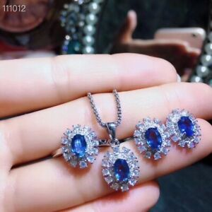 Natural Sapphire Jewelry Set,September Birthstone,18K White Gold Plated Silver