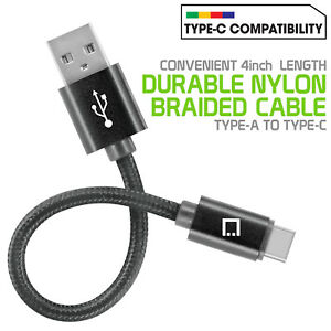 Cellet 4 inch Nylon Braided Type-C Data Charge Cable for Samsung Motorola LG ZTE