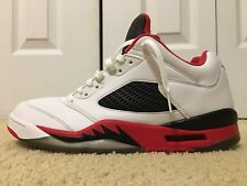 Nike Air Jordan V 5 Retro Low, 819171-101, White/Fire Red /Black, Men's Size 11