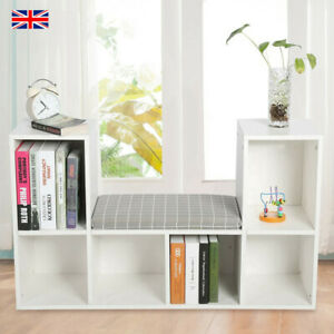 Wooden Bookcase With Reading Nook Cushions Espresso Bookshelf Shelves Bench Seat