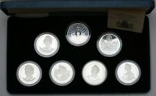 More details for 1980 queen mother 80th birthday silver proof seven crown coin set box & cert