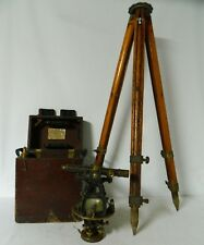 Antique 1922 W. & L.E. Gurley Surveyor's Transit with Case and Wooden Tripod