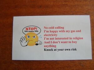 No Cold Caller signs funny smiley laminated hand made