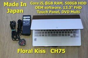 """Floral Kiss Japan Made FHD Touch FUJITSU CH75 i5 13.3"""" 500GB 8GB OEM Software"""