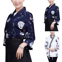 Unisex Sushi Chef Coats Japanese Kimono Half Sleeve Tops Restaurant  Jacket 2018