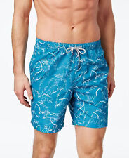 New Mens Michael Kors Phone Blue Palm Print Drawstring Swim Trunks Board Shorts