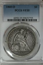 1860-O PCGS VF35   1800's Silver Dollar, Liberty Seated Dollar, $1
