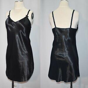 Vintage 1990s Black Satin Lingerie Nightie or Mini Slip Dress Braided Straps S