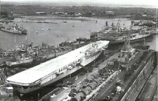 ROYAL NAVY MAJESTIC CLASS AIRCRAFT CARRIER HMS LEVIATHAN IN PORTSMOUTH IN 1959
