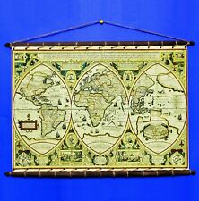 Ancient Old Rare World Map 1618 Canvas Poster Sewn w/ Wooden Round Frame Hanger